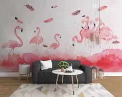 Goede Koop Beibehang Eenvoudige Handgeschilderde Flamingo Veer