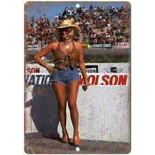 "Linda Vaughn Hurst Performance Speedway 10"" X 7"" Reproduction Metal Si –  Rusty Walls Sign Shop"