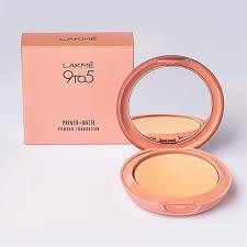 lakme 9 to 5 primer matte powder foundation pact natural light oxy leaves india