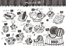 夏の野菜と果物 2 モノクロイラスト No 1556590無料イラストなら