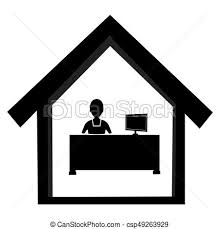 office desk clipart black and white. Contemporary Clipart Abstract Black And White Office Worker At Desk  Csp49263929 Throughout Clipart And