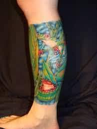 Forest Frog On Leg Tattoo Tattoos Book 65000 Tattoos Designs