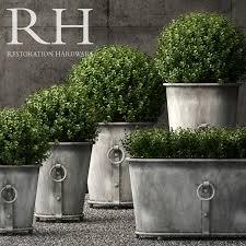 restoration hardware estate zinc ring round planters royalty free 3d model preview no