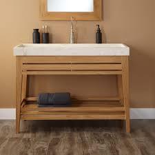 Brown Painted Bathrooms Modern Bathroom Vanity Trough White Sink And Light Brown Wall