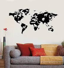 vinyl wall decal world map animals