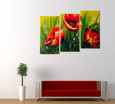 red poppies oil painting canvas home decor on 3 piece wall art with red poppies floral acrylic painting 3 piece wall art