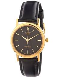 casio mtp1095 mens black and gold watch og leather band quartz