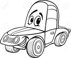 面白い車車漫画のマスコット キャラクター塗り絵子供のためのレースの黒と白の漫画イラスト