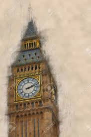 big view photography. Artistic Blurred,vintage Paint Effect View Of Big Ben, London With The Emphasis And Photography E