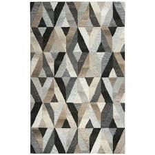 hand tufted grey geometric wool rug design rugs