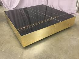coffee table black marble gold plated steel base square high end warehouse