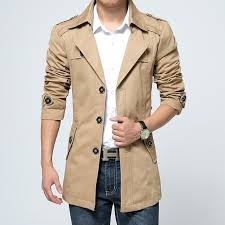 khaki trench coat mens fashion trench coat men hooded winter removable hooded slim long trench jacket