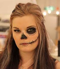 simple sugar skull makeup with hair down