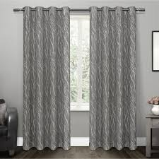 Design Decor Oakdale Dove Grey Oakdale Textured Linen Motif Grommet Top Window Curtain Panel Pair 2
