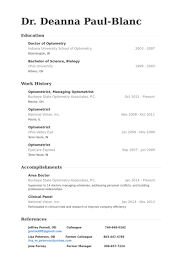 Optometrist, Managing Optometrist Resume samples