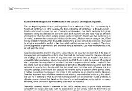strengths and weaknesses of the ontological argument a level  document image preview