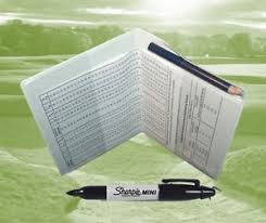 Details About White Golf Scorecard Holder Protector With Pencil And Handicap Allowance Chart