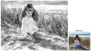 portrait painting of a child on the beach black and white watercolor paintings are timeless