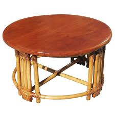 poll round rattan coffee table circa 1940 this rattan table features a unique pole