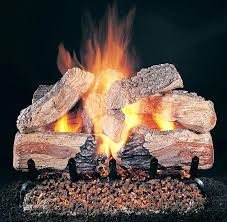 gas log embers fireplace with vented gas log burner and log set with glowing embers gas