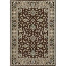 kensington jacobean border brown 7 ft x 10 ft area rug