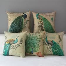 Accessories: Set Of Five Cushions Peacock Fabric - Peacock Home Decor
