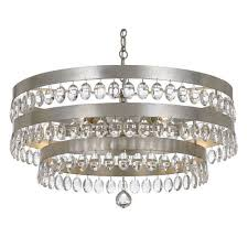 crystorama lighting group perla antique silver six light chandelier with clear elliptical faceted crystal