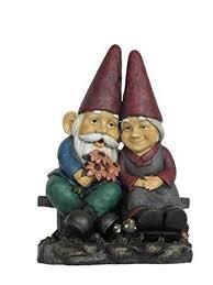 hi line gift ltd garden gnome old couple holding flower statue on bench 17