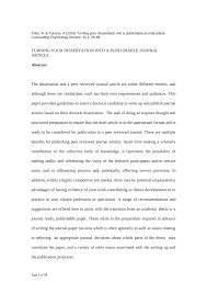 Pdf Turning Your Dissertation Into A Publishable Journal Article