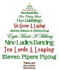 Christmas Tree Shaped 12 Days of Christmas Lyrics Printable for ...