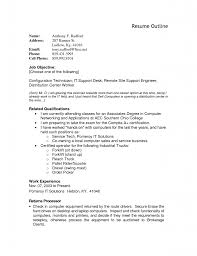 Resume Outline Example 69 Images Sample Resume Outline 8
