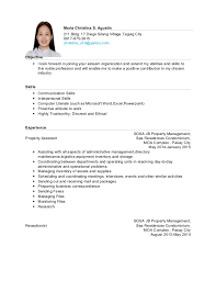 sample resume objectives for ojt it students resume ixiplay free