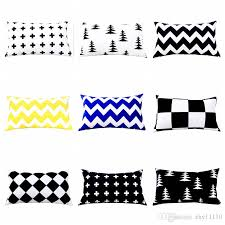 whole home decor velvet pillow cover black and white geometric cushion cover 30 50cm sofa car decorative lumbar pillow outdoor chair cushions on 24