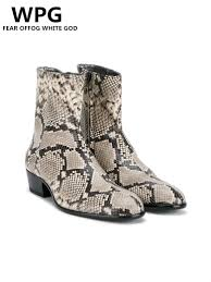 Snake Design Shoes Us 63 89 29 Off New Style Top Quality Designer Golden Snake Skin Men Shoes Luxury Brand Chelsea Mens Western Motorcycle Boots Shoes In Chelsea Boots