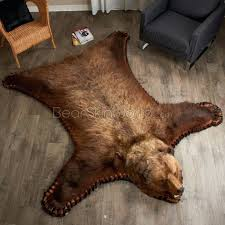 bearskin rug 7 foot 6 inch grizzly bear rug bear skin rug in front of fireplace bearskin rug