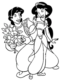 Small Picture Aladdin Gives Jasmine Flowers Coloring Page Aladdin pages of
