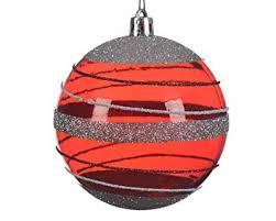 Weihnachtskugeln Rot Silber Transparent 3er Set Glänzend