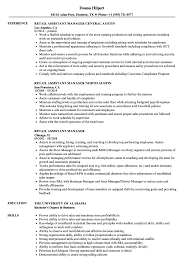 Assistantr Resume Retail Sample Resumes Samples Velvet Jobs ...