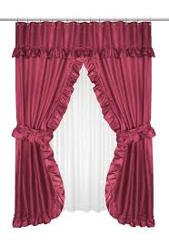 ruffled double swag shower curtain with valance tie backs burdy valance swag and dobby fabric