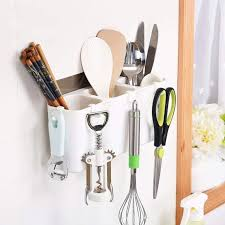 Utensils <b>Storage Shelf</b> No Trace Sticker Mounted Hanging Kitchen ...