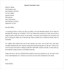 Letter To Terminate Contract With Supplier Daycare Employee Termination Letter Template Printable Draft