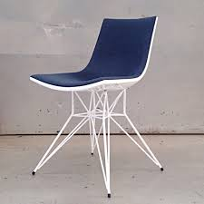 modern adia dining chair blue denim on white lacquer zuri furniture