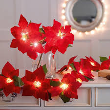 Poinsettia Christmas Tree Lights Uk Poinsettia Led Garland