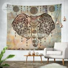 elephant tapestry wall hanging in shabby chic bohemian tapestries art decor for bathroom lotus tape