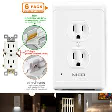Led Cover Plate Night Light 6 Pack Wall Outlet Cover Plate With Led Night Lights