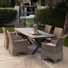 indoor outdoor furniture patio ideas two tones wicker dining doom set under framed wall art furniture