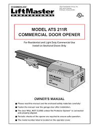 Light Duty Commercial Garage Door Opener Chamberlain Ats211r Garage Door Opener User Manual