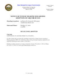 NOTICE OF PUBLIC HEARING REGARDING ADOPTION OF LIQUOR RULES