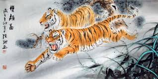 two tigers chinese painting