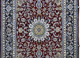 dark red blue silk persian rug item 778